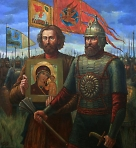 Минин и Пожарский с Казанским образом Божией Матери