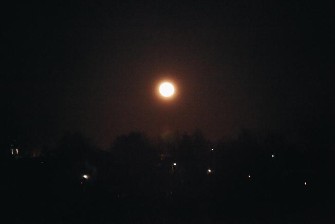 март 2021, желтая Луна