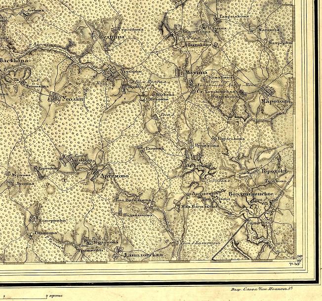 Окрестности Хотькова на карте Шуберта. 1860 год.