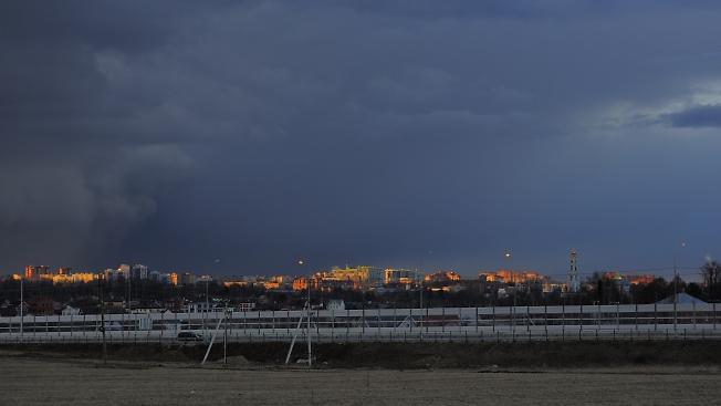 Над городом дождь