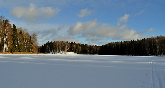 В солнечный полдень на лыжне
