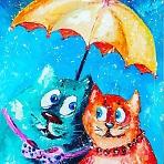 """Художественный мастер-класс. Копия картины Л. Купцовой """"Влюбленные коты"""""""