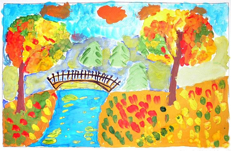 Осенняя тема в детских рисунках